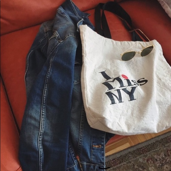 NWOT Cotton canvas tote bag with black handle